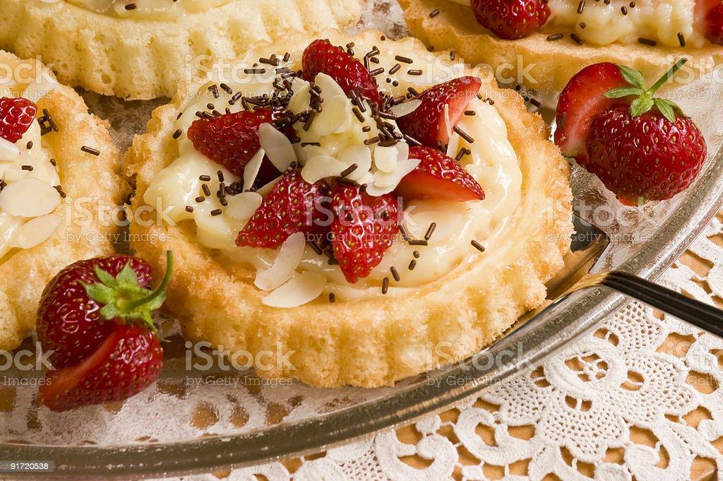 Round cake with fresh strawberries royalty-free stock photo