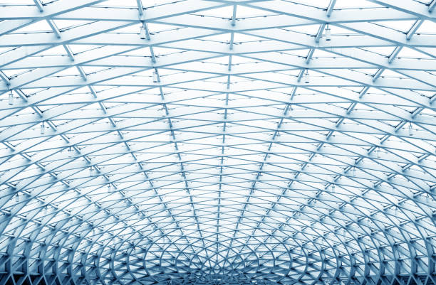 round ceiling inside office center stock photo
