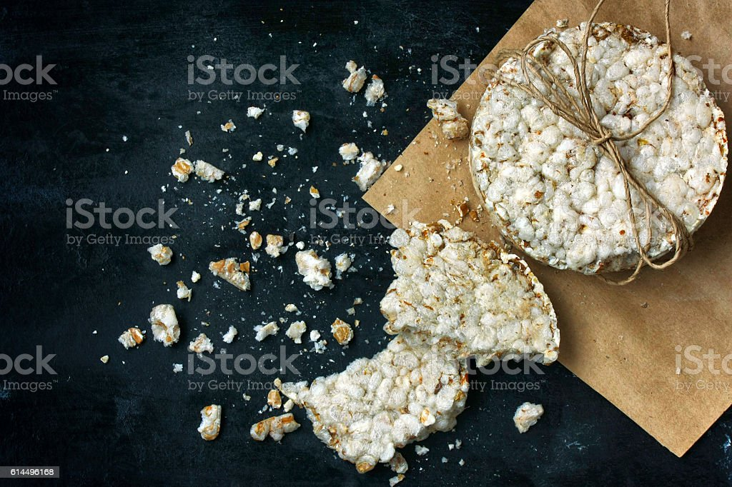 round cereal crispbread tied with a rope stock photo