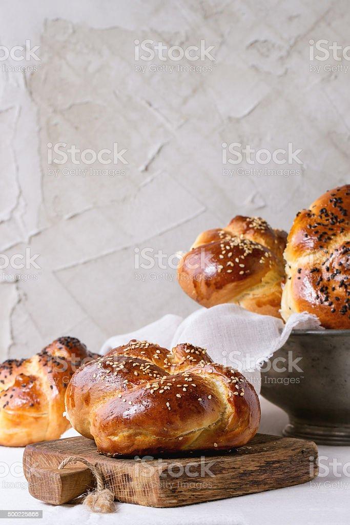 Round Challah bread stock photo