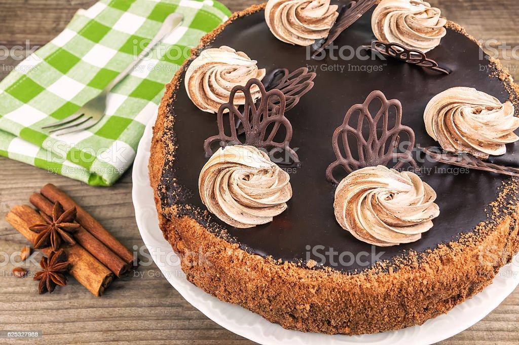 round chocolate cake stock photo