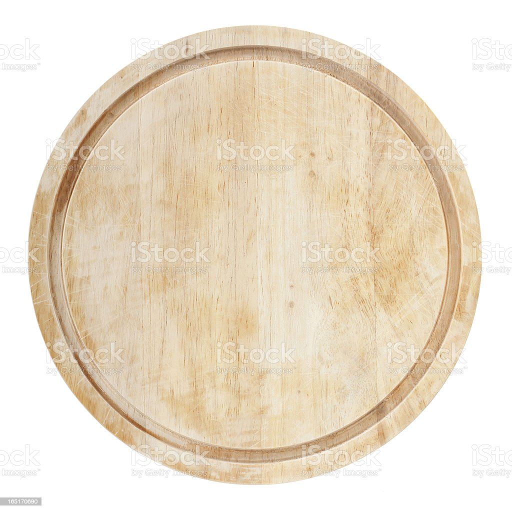Round chopping board stock photo