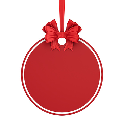 round christmas label with red ribbon and bow on white background. Isolated 3D illustration