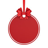 istock round christmas label with red ribbon and bow on white background. Isolated 3D illustration 1270890353