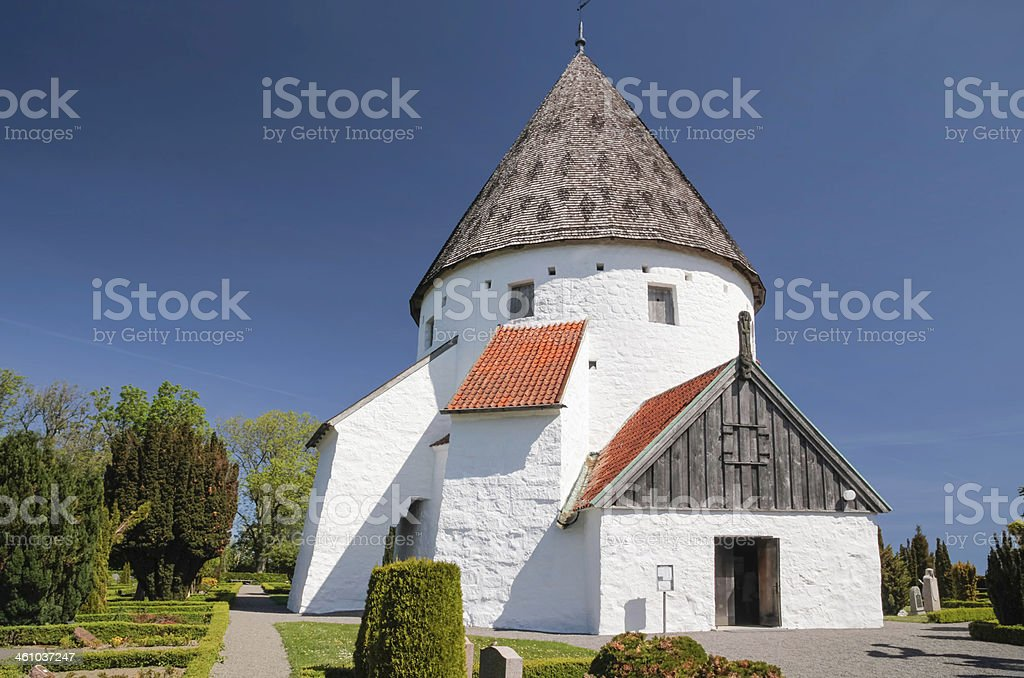 Round church Ols Kirke St. on Bornholm stock photo