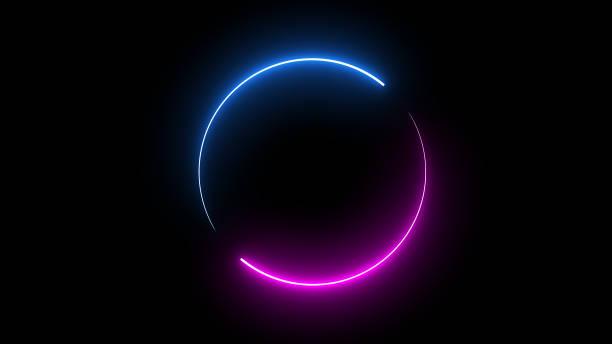 okrągła ramka na obraz z dwukolorowym neonowym kolorem na izolowanym czarnym tle. niebieskie i różowe światło poruszające się na element nakładki. renderowanie ilustracji 3d. puste miejsce w środku - neon zdjęcia i obrazy z banku zdjęć