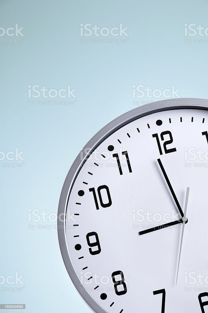 Round clock just before 9 o'clock stock photo