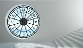 3D illustration. Round clock window in the room. Interior concept. Architecture. Time and the sun