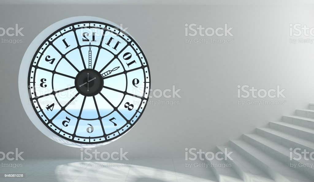 Round clock window in the room stock photo