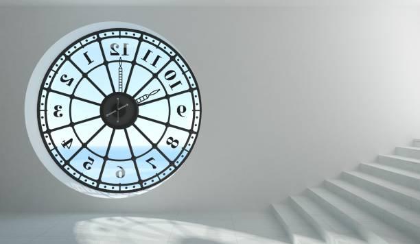 Round clock window in the room stock photo