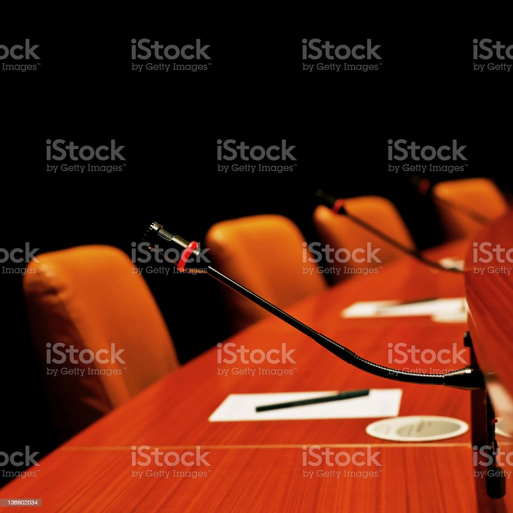 XL round conference table stock photo