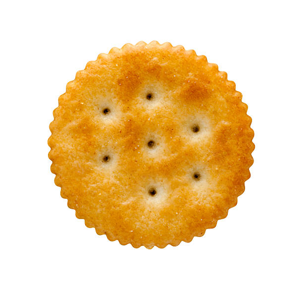 Round Cracker  with a clipping path stock photo