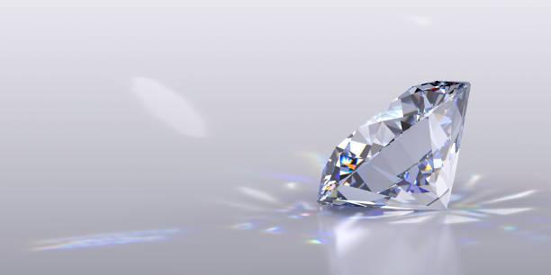 diamante taglio rotondo su sfondo grigio lucido - brillante foto e immagini stock