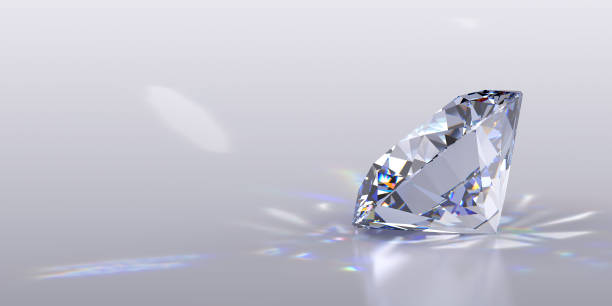ronde geslepen diamant op grijze glanzende achtergrond - lichtbreking stockfoto's en -beelden