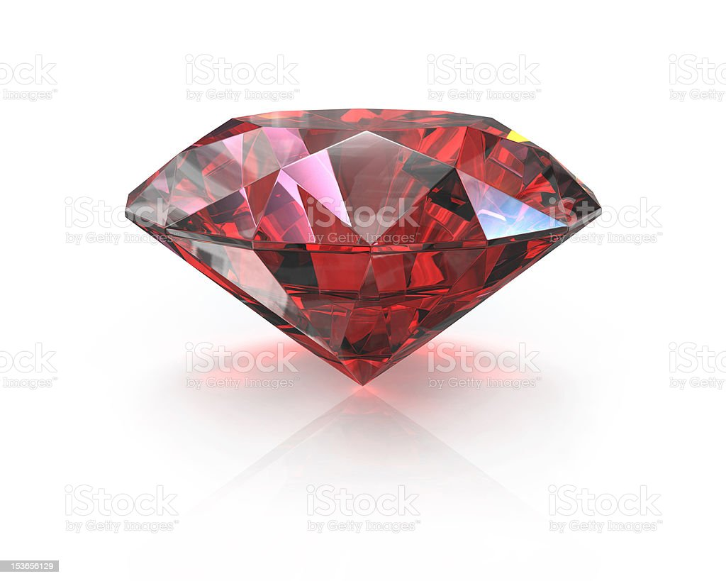 Round cut ruby stock photo