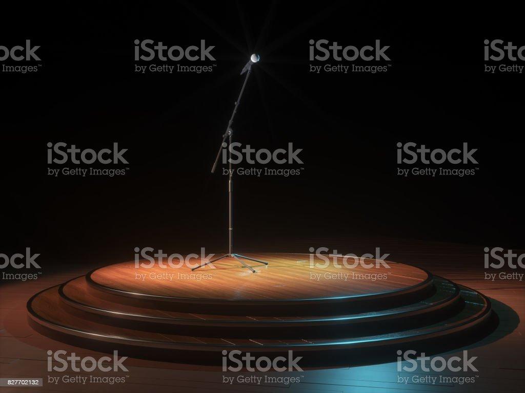 Round Dark empty stage and microphone. 3d render stock photo