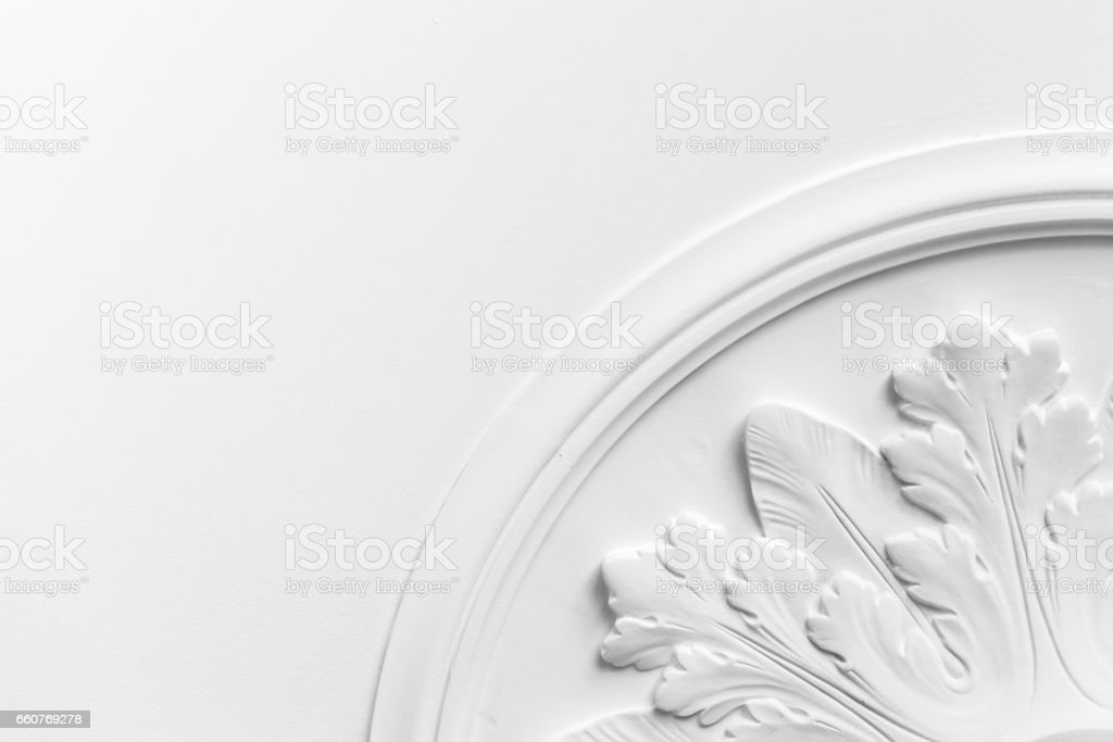 Round decorative clay stucco relief molding stock photo