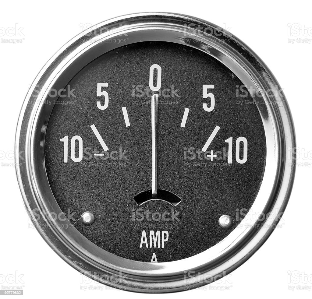 Round dial amp gauge electrical instrument royalty-free stock photo