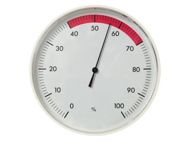 Round dial hygrometer stock photo