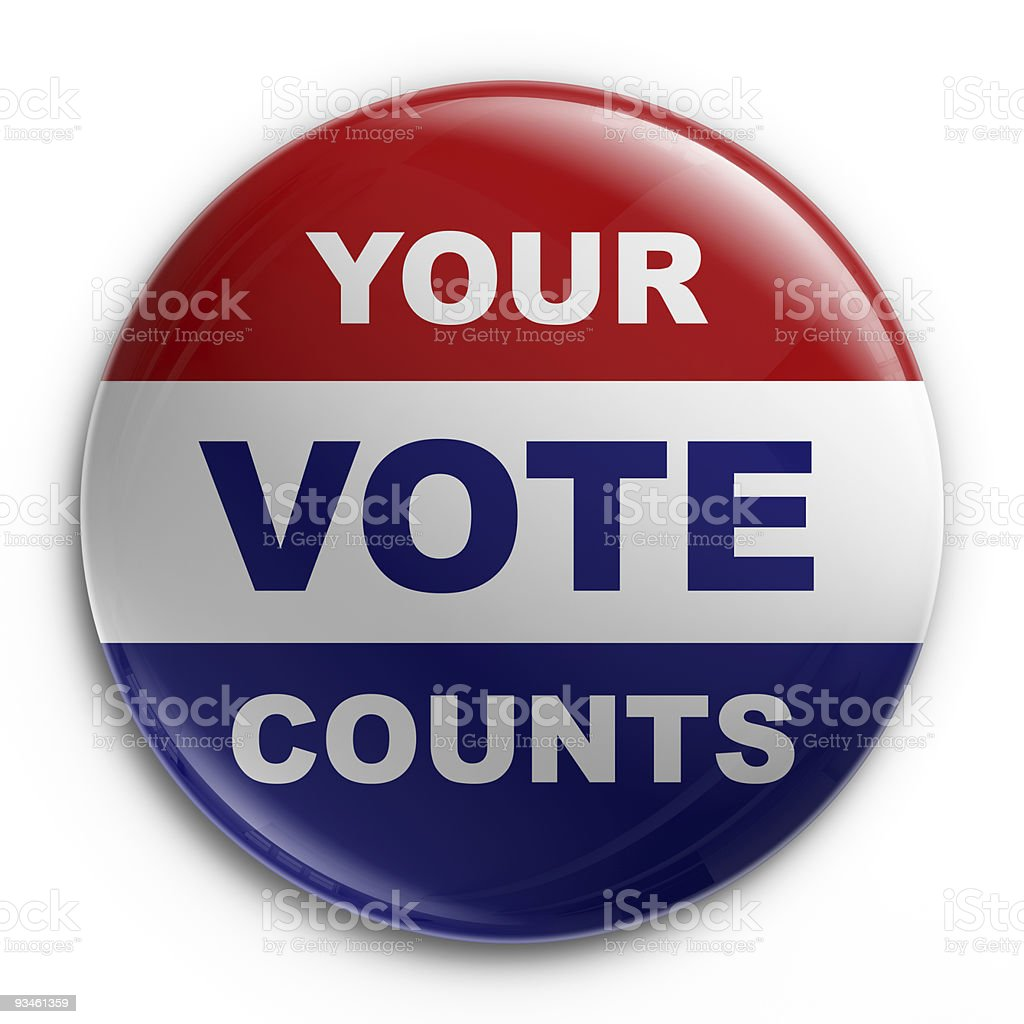 Round election badge with writing in red, blue and white stock photo