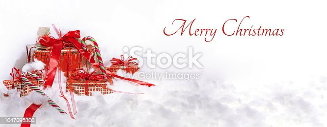 istock Round electric Christmas lights with some decor elements. 1047095300