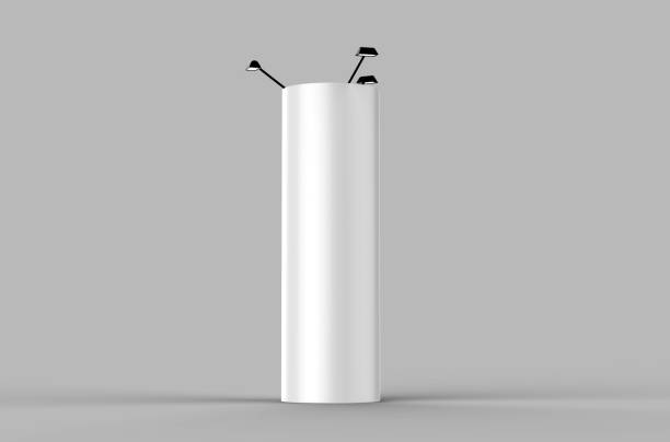 round expand tower three panels graphic panels pop up display or totem banner stand. 3d render illustration. - totem fair foto e immagini stock