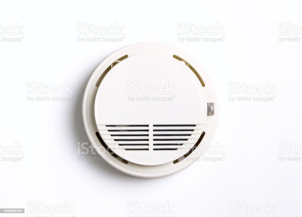 Round Fire Alarm Smoke Alarm isolated on white stock photo