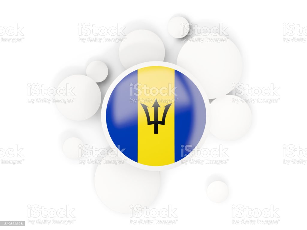 Round flag of barbados with circles pattern stock photo