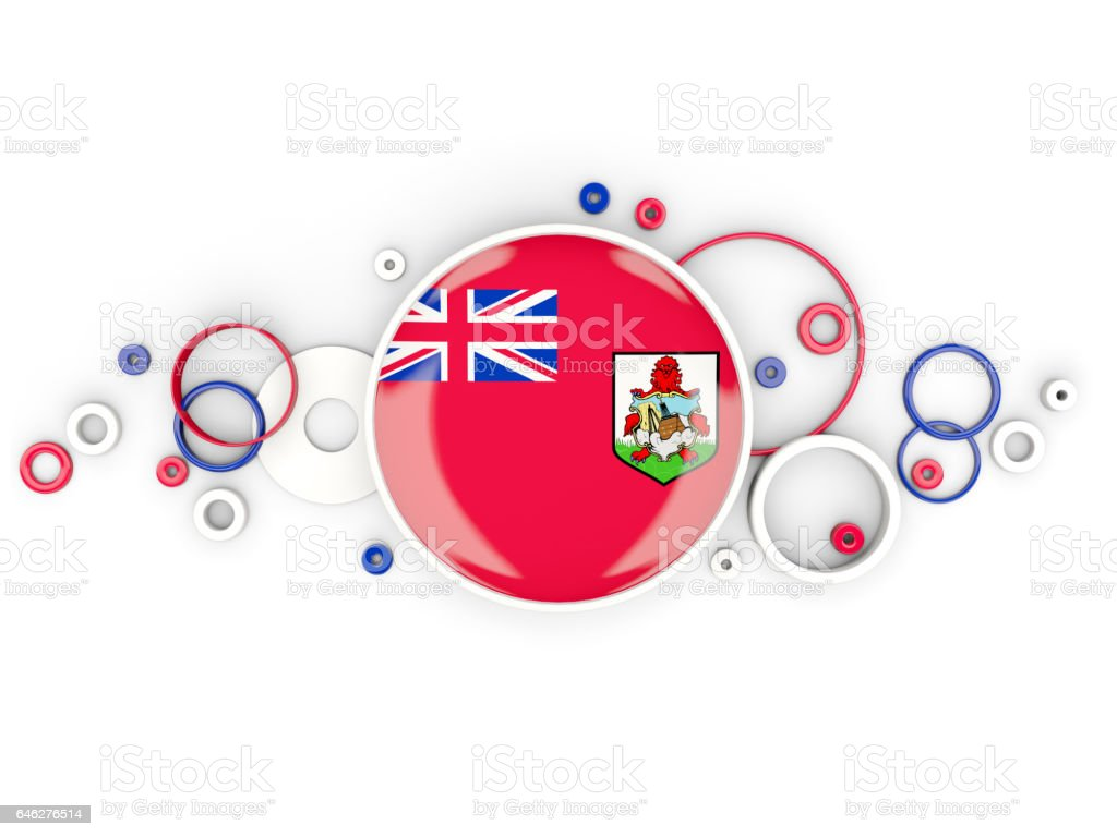 Round flag of bermuda with circles pattern stock photo