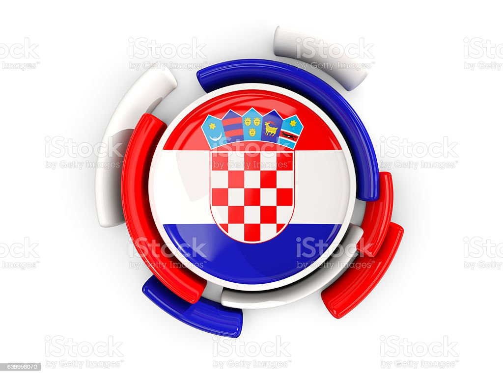 Round flag of croatia with color pattern stock photo