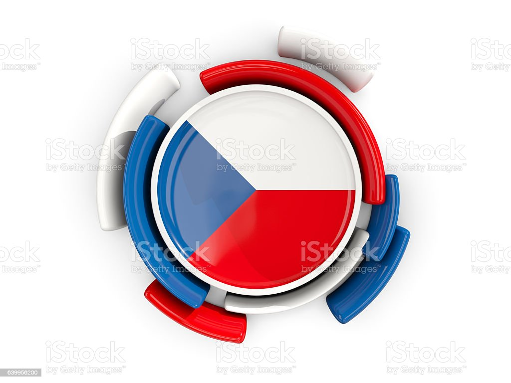 Round flag of czech republic with color pattern - foto de stock