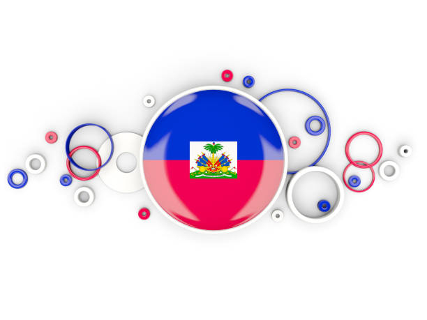 Round flag of haiti with circles pattern Round flag of haiti with circles pattern isolated on white. 3D illustration Haiti Flag stock pictures, royalty-free photos & images