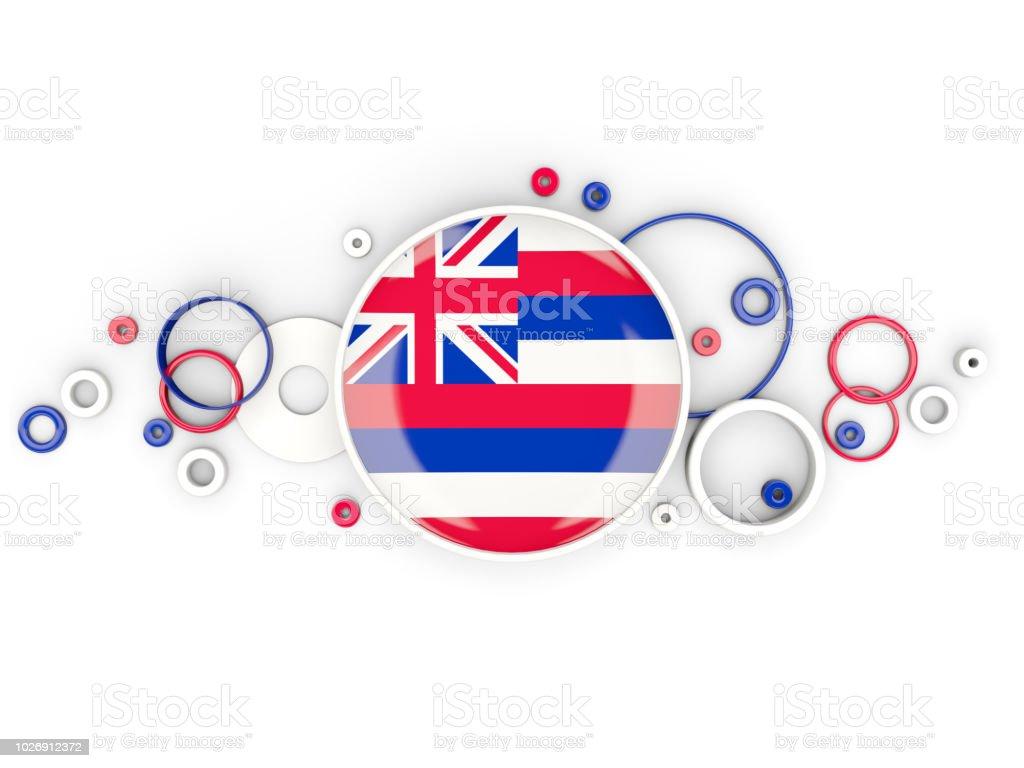 Bandeira redonda do Havaí com padrão de círculos. Bandeiras de locais dos Estados Unidos - foto de acervo