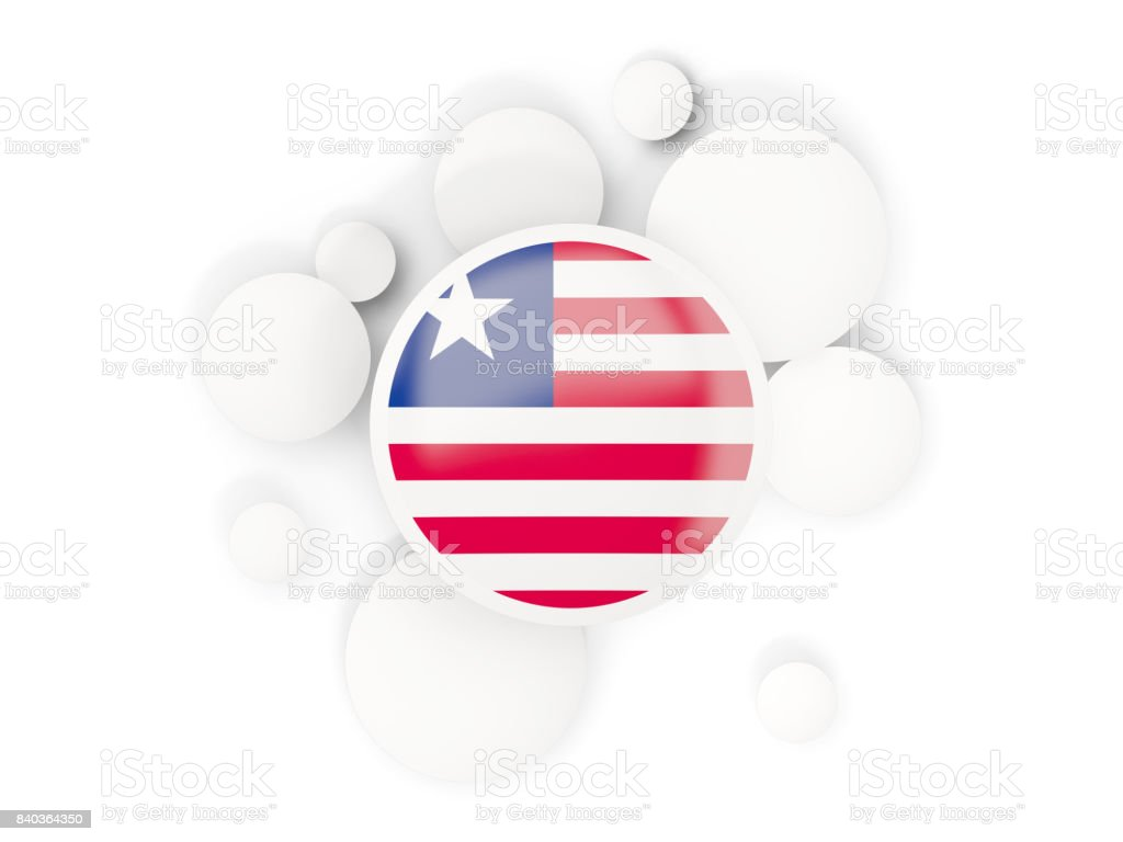 Round flag of liberia with circles pattern stock photo