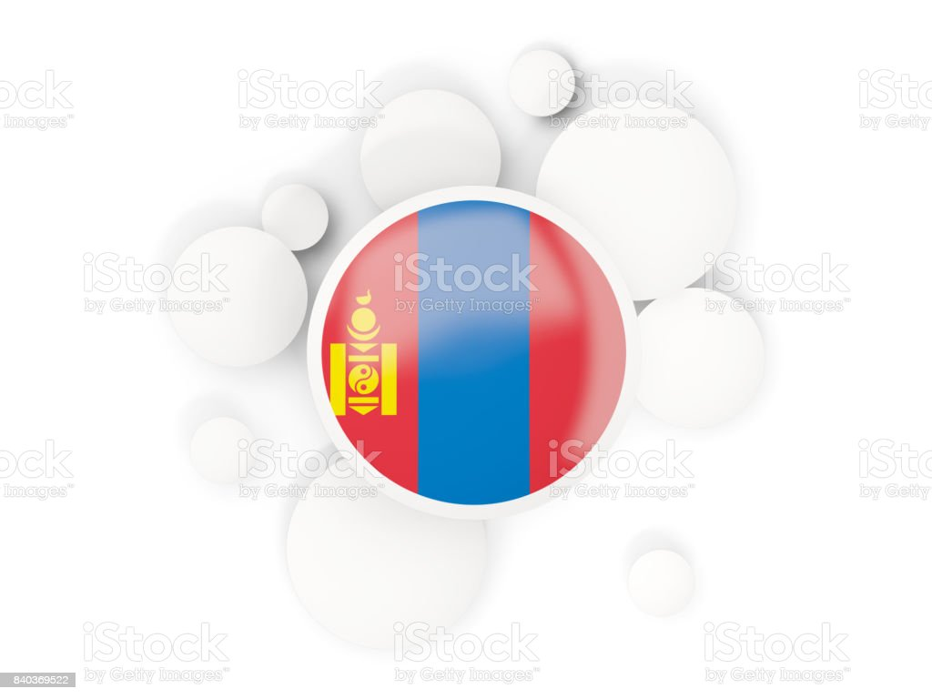 Round flag of mongolia with circles pattern stock photo