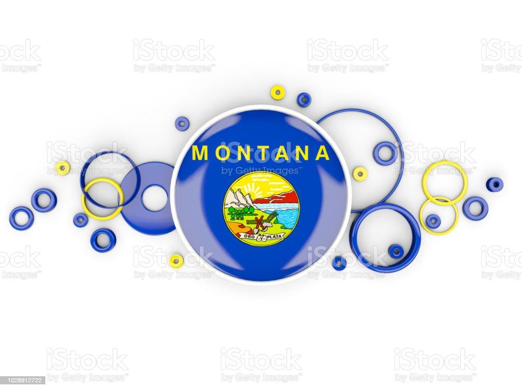 Pavilhão redondo de montana com padrão de círculos. Bandeiras de locais dos Estados Unidos - foto de acervo