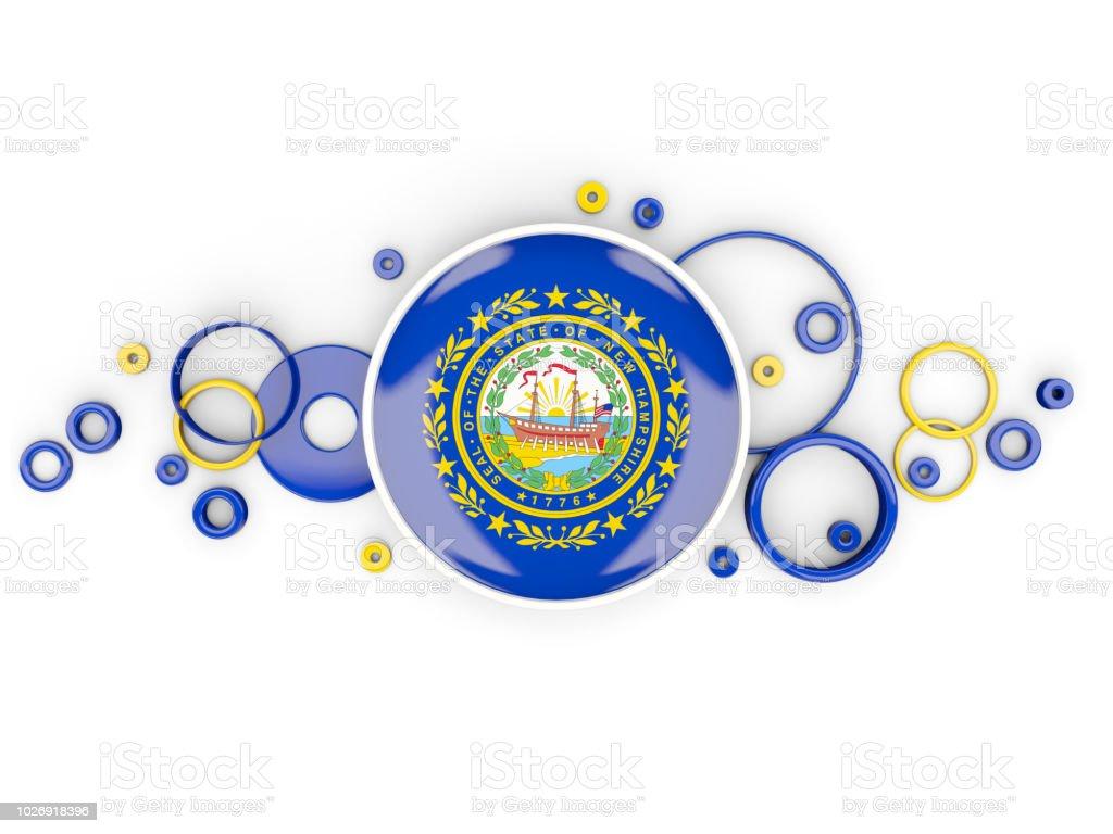 Rodada bandeira de new hampshire, com padrão de círculos. Bandeiras de locais dos Estados Unidos - foto de acervo