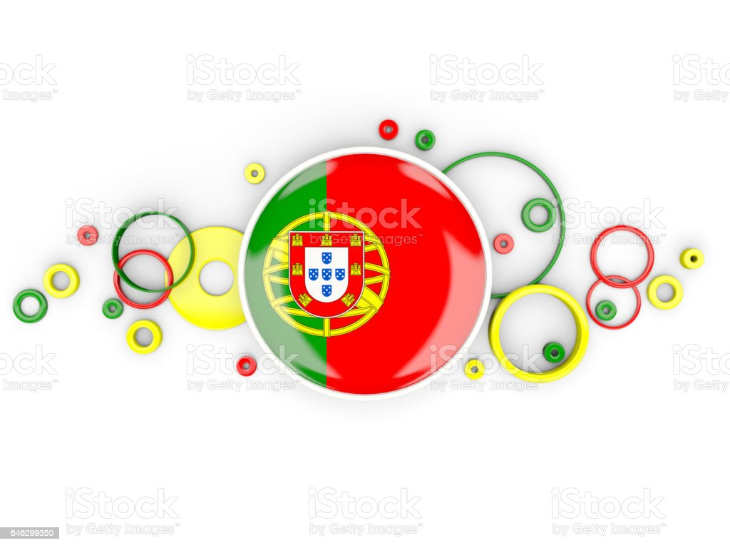 Round flag of portugal with circles pattern - fotografia de stock
