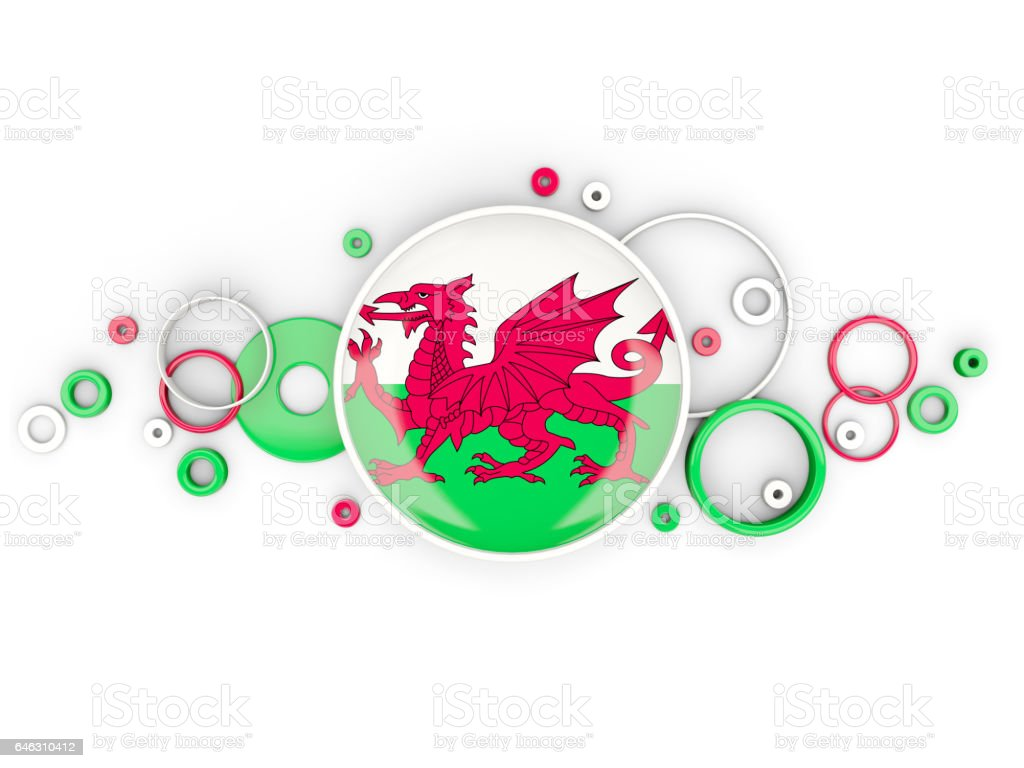 Round flag of wales with circles pattern vector art illustration