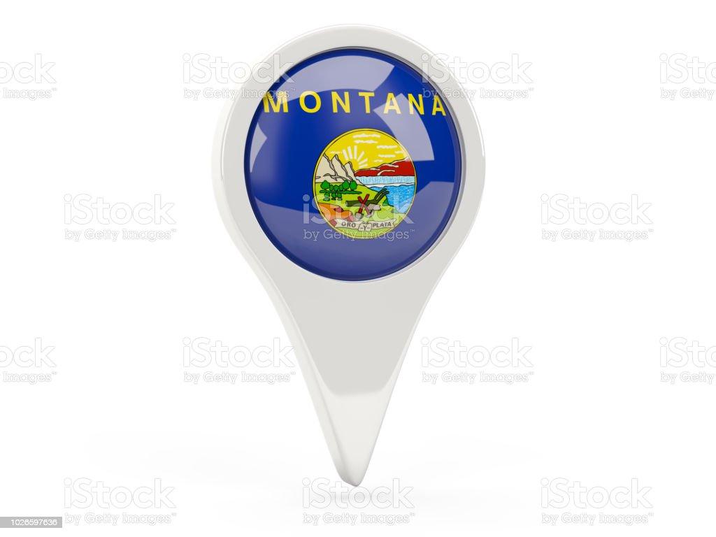 Pin bandeira redonda com bandeira de montana. Bandeiras de locais dos Estados Unidos - foto de acervo
