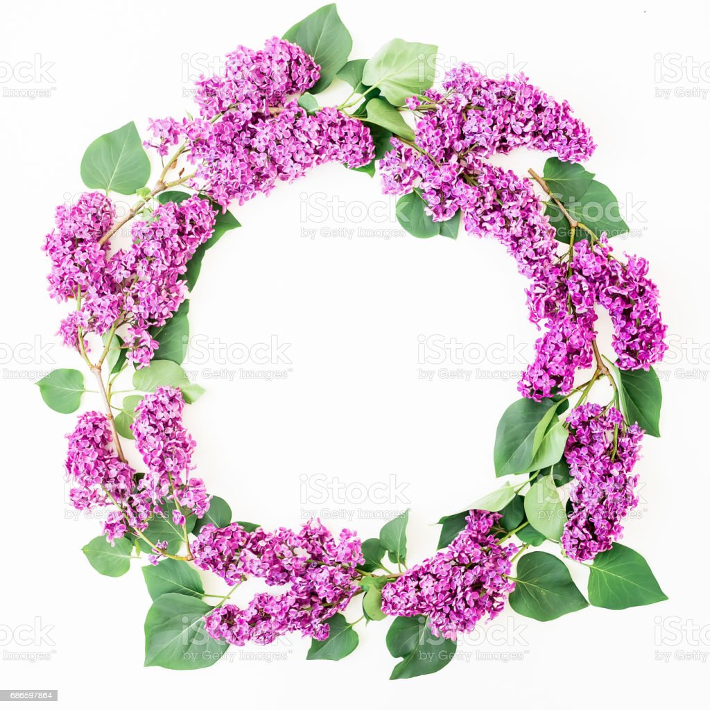 Round floral frame of lilac branches and leaves on white background. Flat lay, top view. Summer pattern royalty-free stock photo