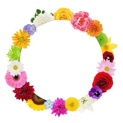 White round border surrounded by colorful flowers - add your own text!