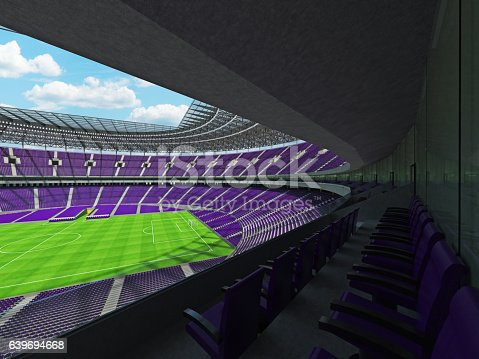 3D render of a round football -  soccer stadium with  purple seats and VIP boxes for hundred thousand people