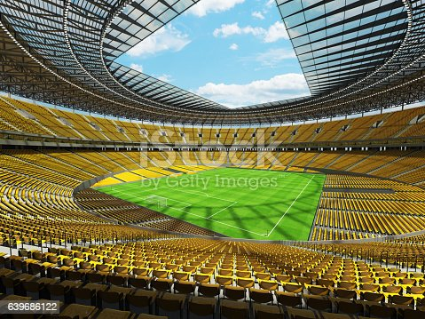 3D render of a round football -  soccer stadium with  yellow seats and VIP boxes for hundred thousand people