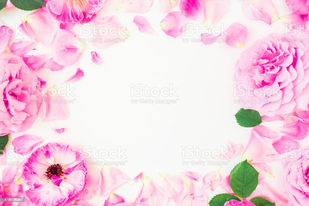 Round frame made of pink flowers petals and leaves on white round frame made of pink flowers petals and leaves on white background floral lifestyle mightylinksfo