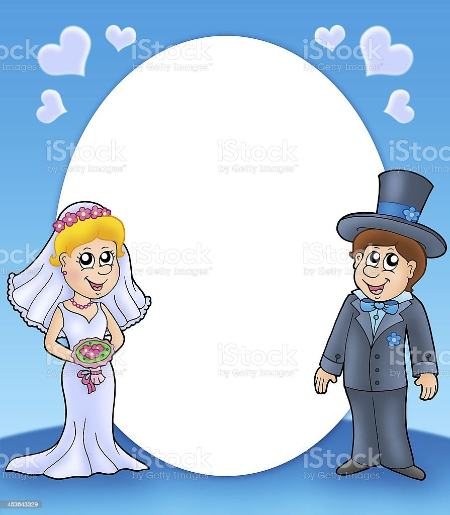 Round frame with bride and groom stock photo