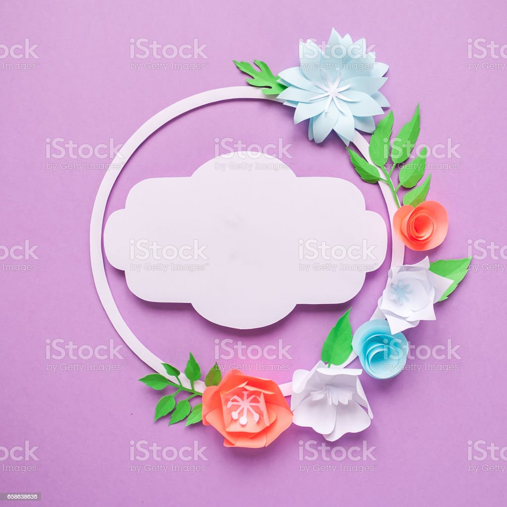 Round Frame With Color Paper Flowers On Purple Background Cut From