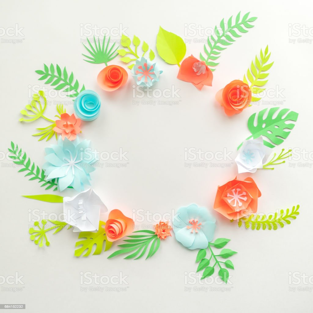 Round Frame With Color Paper Flowers On The White Background Flat