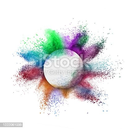 874001974 istock photo Round frame with colorful powder splash on a white background. 1222061035