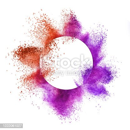 874001974 istock photo Round frame with colorful splash on a white background. 1222061027